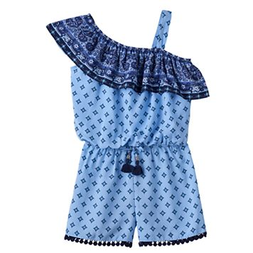 Girls 7-16 My Michelle One-Shoulder Patterned Romper