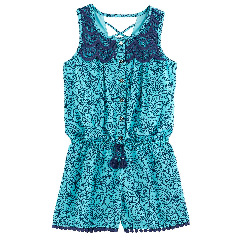 Girls 7-16 My Michelle Patterned Lace Front Romper