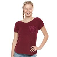 Juniors' SO® Crochet Pocket Tee