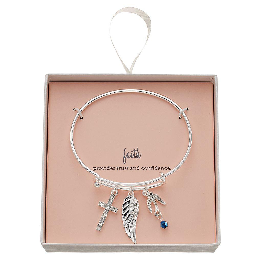 Cross, Dove & Wing Charm Bangle Bracelet
