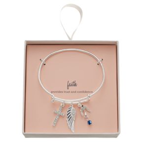 Cross, Dove & Wing Charm Bangle Bracelet