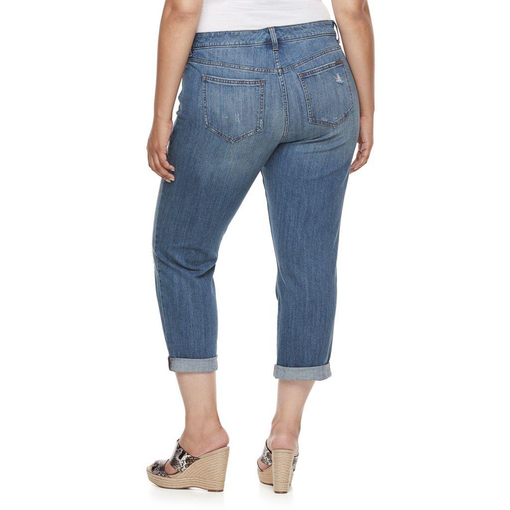 Plus Size Jennifer Lopez Destructed Boyfriend Denim Capris