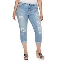 Plus Size Jennifer Lopez Destructed Boyfriend Denim Capris