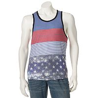 Men's Distortion Striped Americana Tank Top