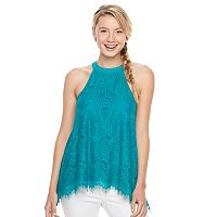 Juniors' Trixxi High Neck Lace Overlay Tank