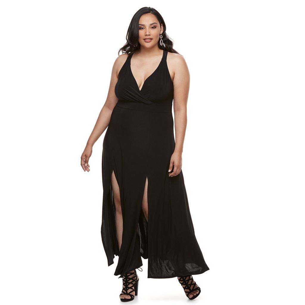 Plus Size Jennifer Lopez Surplice Maxi Dress