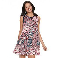 Juniors' Speechless Lattice Shoulder Floral Shift Dress