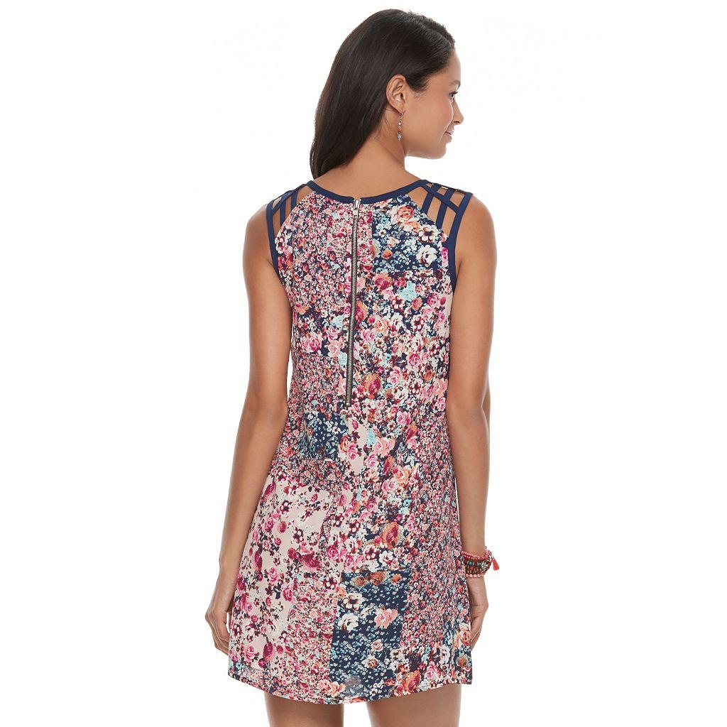 Juniors' Speechless Lattice Shoulder Floral Shift Dress