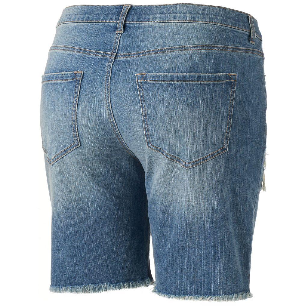 Juniors' Plus Size Mudd® Ripped Bermuda Jean Shorts