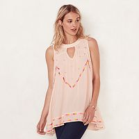 Women's LC Lauren Conrad Embroidered Keyhole Tunic