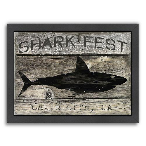 """Americanflat """"Shark Fest"""" Framed Wall Art"""