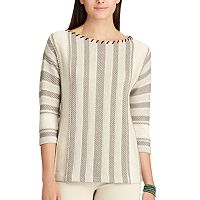 Petite Chaps Striped Cotton-Blend Sweater
