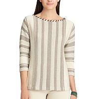 Petite Chaps Striped Cotton-Blend Sweater