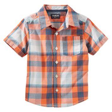 Toddler Boy OshKosh B'gosh® Plaid Short-Sleeved Woven Top