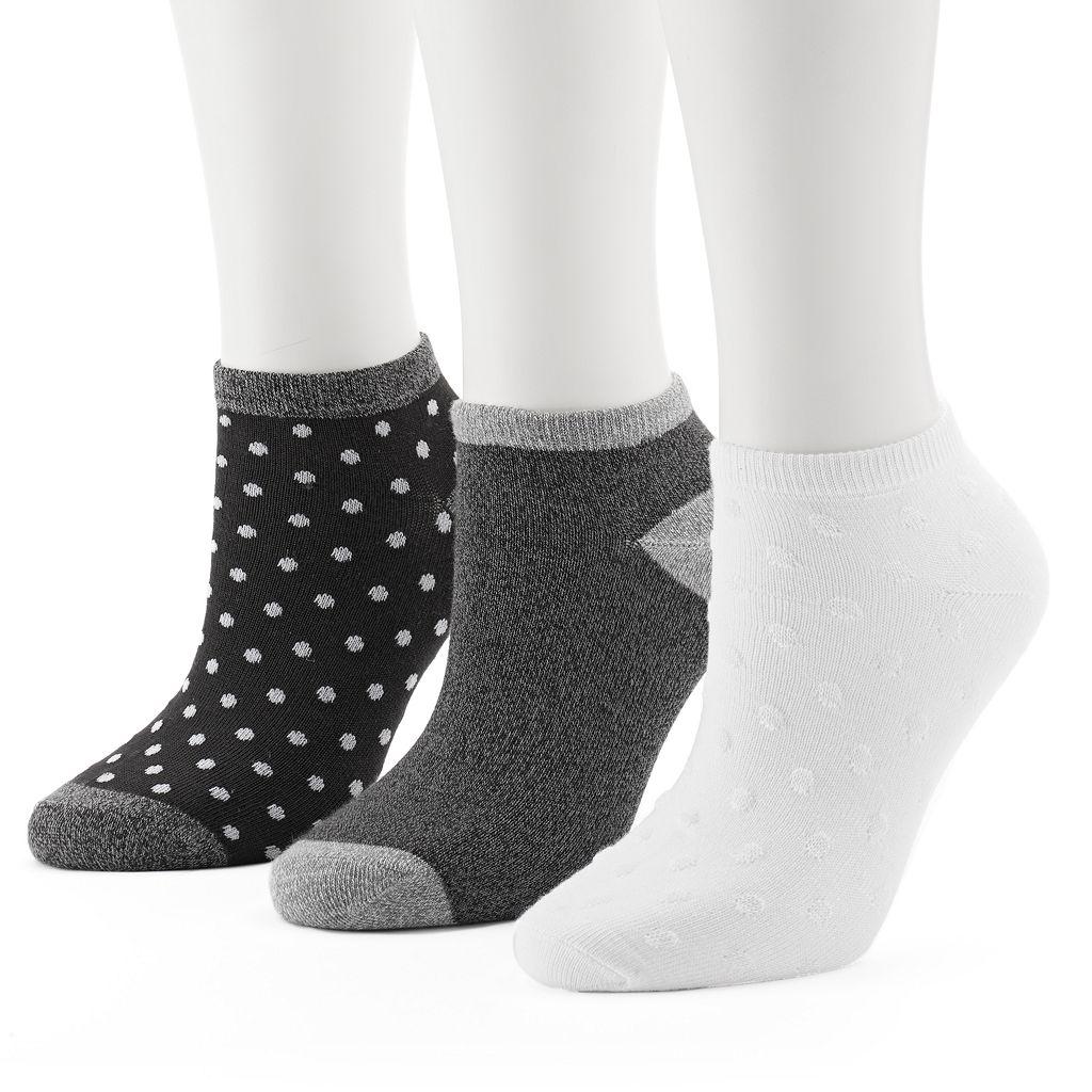 Women's Cuddl Duds 3-pk. Dotted Low-Cut Socks