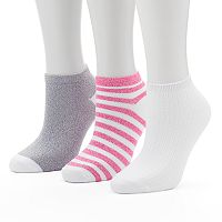Women's Cuddl Duds 3-pk. Striped Low-Cut Socks