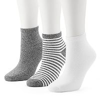 Women's Cuddl Duds 3-pk. Twisted Ankle Socks