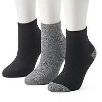 Women's Cuddl Duds 3-pk. Textured Ankle Socks