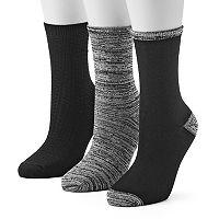 Women's Cuddl Duds 3 pkSpace-Dyed Crew Socks