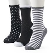 Women's Cuddl Duds 3 pkStriped & Dotted Crew Socks