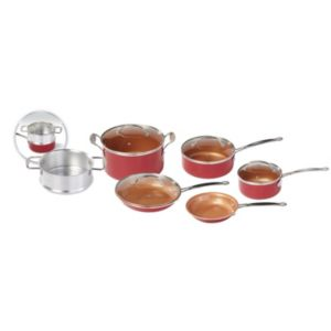 As Seen on TV 10-pc. Red Copper Cookware Set
