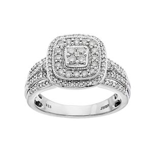 Always Yours Sterling Silver 1/2 ct. T.W. Diamond Halo Engagement Ring