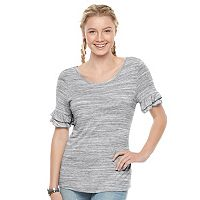 Juniors' SO® Ruffle Sleeve Tee