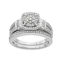 Always Yours Sterling Silver 1/2 ctT.W. Diamond Engagment Ring Set
