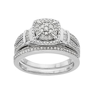 Always Yours Sterling Silver 1/2 ct. T.W. Diamond Engagment Ring Set
