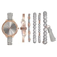 Women's Crystal Braided Watch & Bracelet Set