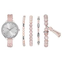 Women's Crystal Braided Watch & Beaded Bracelet Set