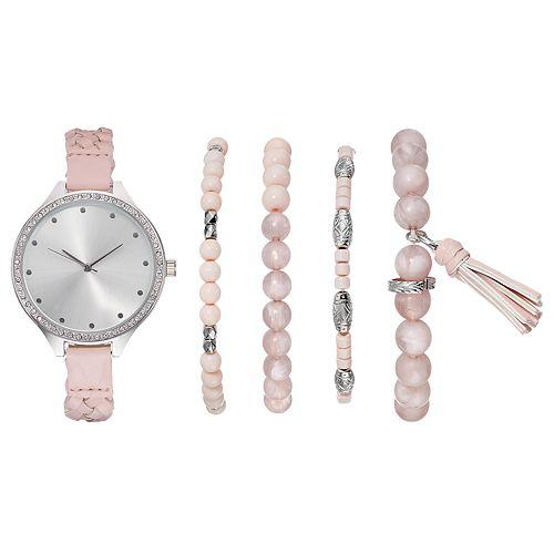 Women's Crystal Braided Watch & Beaded Bracelet Set