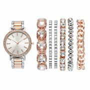 Women's Crystal Two Tone Watch & Bracelet Set