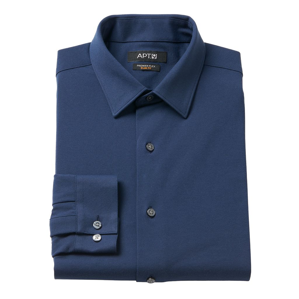 Men's Apt. 9® Premier Flex Slim-Fit Stretch Knit Dress Shirt