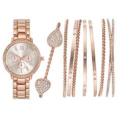 Women S Crystal Watch Bangle Bracelet Set