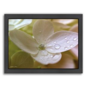 "Americanflat ""White Flower Dew Drop I"" Framed Wall Art"