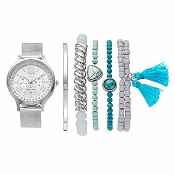 Women's Crystal Mesh Watch & Bracelet Set