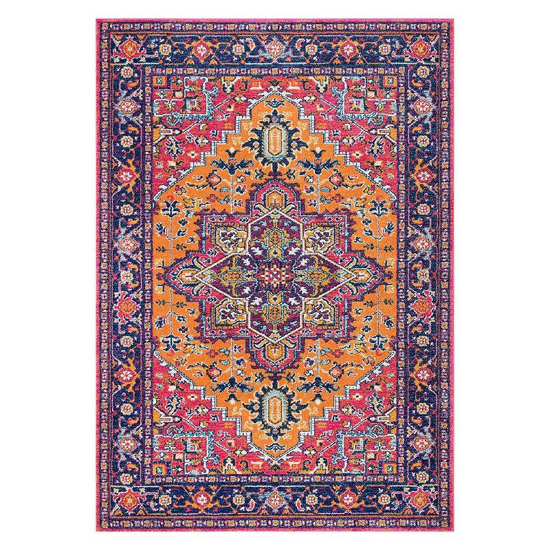 nuLOOM Bodrum Fancy Persian Vonda Framed Floral Rug, Orange, 2.5X8 Ft