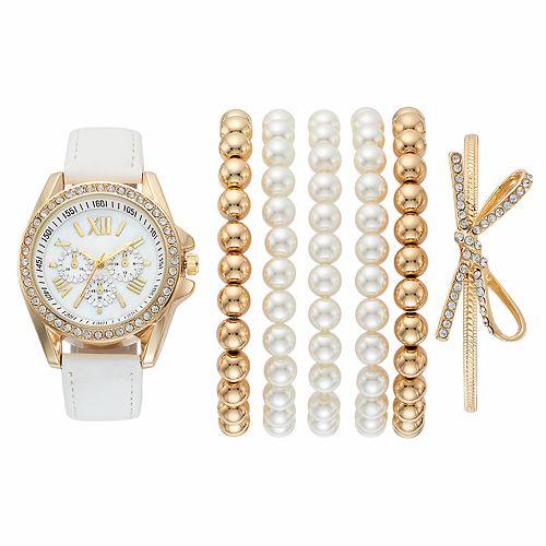 Women's Crystal Watch & Simulated Pearl Bracelet Set