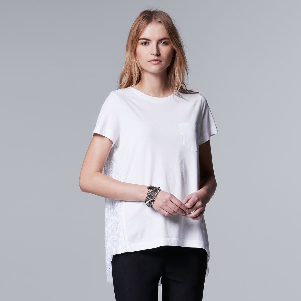 Women's Simply Vera Vera Wang Pleated Lace Back Tee