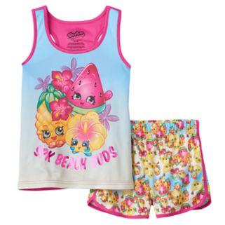 "Girls 4-12 Shopkins Pineapple Crush, Melonie Pips & Heidi Hibiscus ""SPK Beach Buds"" Tank Top & Shorts Pajama Set"