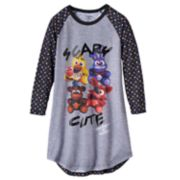 "Girls 6-14 Five Nights at Freddy's ""Scary Cute"" Raglan Nightgown"