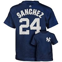 Boys 4-7 Majestic New York Yankees Gary Sanchez Metal Grid Name and Number Tee