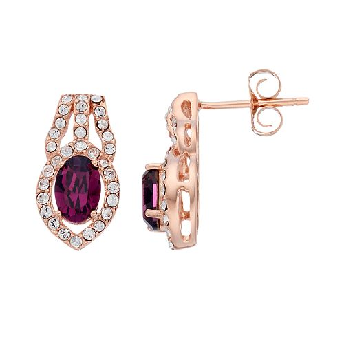 Sterling 'N' Ice 14k Rose Gold Over Silver Crystal Openwork Stud Earrings