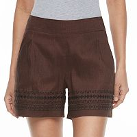 Petite Apt. 9® Embroidered Linen Blend Shorts