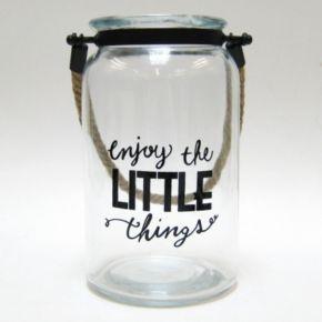 """Enjoy The Little Things"" Glass Jar Table Decor"
