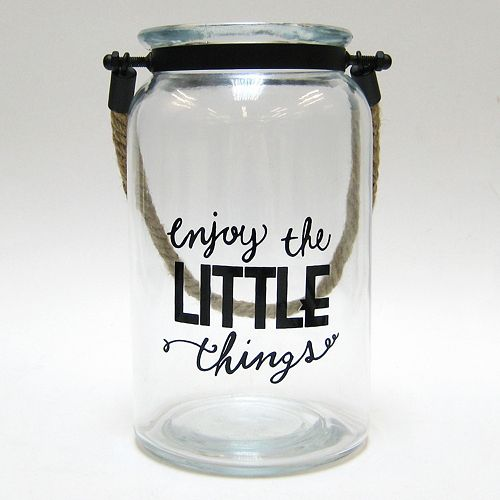 """Enjoy The Little Things"" Glass Jar Table Decor"