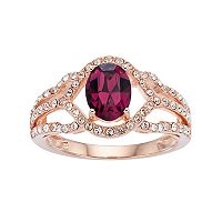 Sterling 'N' Ice 14k Rose Gold Over Silver Crystal Openwork Ring