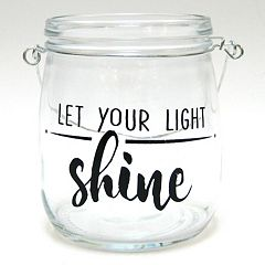 'Let Your Light Shine' Glass Jar Table Decor