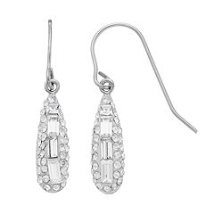 Sterling 'N' Ice Sterling Silver Crystal Baguette Drop Earrings